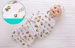 Wholesale Cartoon Print Summer Organic Cotton Infant Parisarc Newborn thin Baby Wrap Envelope Swaddling with hat Baby Blankets Bedding