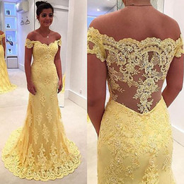 Fabulous Prom Dresses Long Mermaid Off the Shoulder Yellow Full Lace Appliqued Evening Party Gowns Top Quality Sweep Train