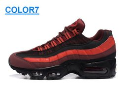Wholesale Brand Air Max ESSENTIAL Anniversary Mens Max95 Running Shoes LT Grey Black Orange Red Colors Size US7 US12