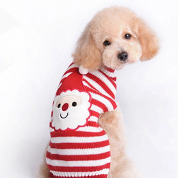 Wholesale Christmas Pet Puppy Doggy Cat Dog Teddy Poodle Sweater Stripe Knit Coat Santa Claus Apparel Clothes CL002