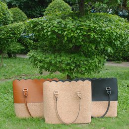 Wholesale Blanks Cork Scalloped Handbags Women Faux Leather PU Purses Cork Tote Bag Patchwork Joint Tote Bag DOM103297
