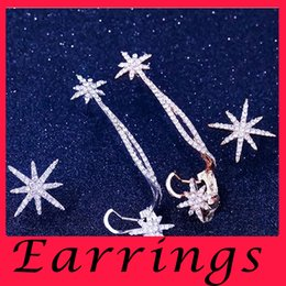 Wholesale The new fashion Europe and the United States Temperament women stud earrings asymmetric ShanZuan stars sterling silver Earrings