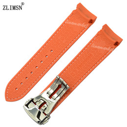 ZLIMSN 20mm Orange Diver Rubber band strap with Rose Gold Silver deployment clasp For Planet-OceanSweatband Men Women