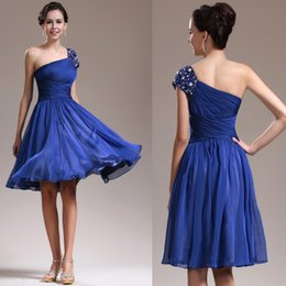 Wholesale Silver Bridesmaid China - Royal Blue Beaded One Shoulder Knee Length Short Bridesmaid Bridesmaids Dress Pleated Chiffon Imported China B2168