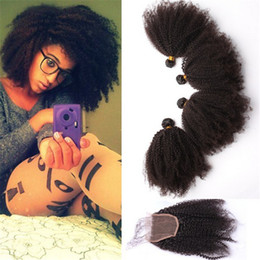 Mongolian 9A Virgin Human Hair Afro Kinky Curly With Lace Closure Afro Kinky Curly Full Lace Closure With Hair Bundles 4pcs lot