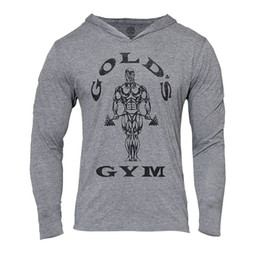 Wholesale Mens Gym Hoodie Long Sleeve Bodybuilding Hoody Men Sports Suits Tank Top Muscle Shirts Cotton Assassins Creed Gold Gym