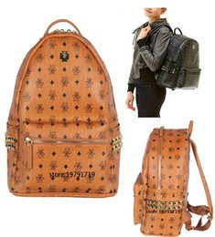 Wholesale 2015 Spring Stark Stud Visetos Backpack Medium Size Cognac Brown Color Side Rivets Shoulder Bag for mini siez cm