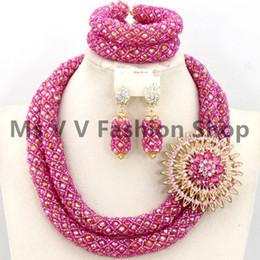 fushia gold Wedding African Beads Jewelry Set Dubai 18k Gold Jewelry Set Bridal necklace bracelet earrings gold jewellery necklace sets