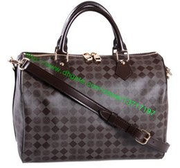 Wholesale Top Grade Brown Plaid Canvas Leather Lady Handbag Speeedy N41367 N41368 N41366 Women BANDOULIIER Shoulder Bag Sizes