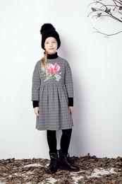 Wholesale kids christmas Long Sleeve Dress Brand Kids Dresses for Girls Clothes Floral Pattern Princesse Dress Disfraces Infantiles Princesa