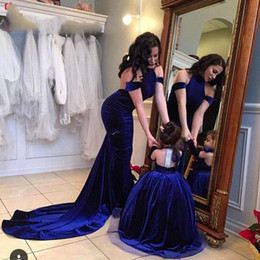 Wholesale 2016 Beautiful Mother And Daughter Parent Child Matching Party Gowns Mermaid Royal Blue Velvet Prom Dresses Women Cute Flower Girls Dresses