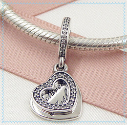 2016 Mother's Day 925 Sterling Silver Beloved Mother Dangle Charm Bead with Cz Fits European Pandora Style Jewelry Bracelets & Necklace