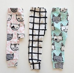 Wholesale Cute Kids INS Full Cotton Pants Children Fashion Cartoon Trousers Fox Cat Feather Cross Pattern Leggings High Quality Tights Babywear