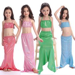 2016 Girl Mermaid Tail Swimmable swimwear Mermaid Princess Style Bikini Swimwear Kids Children Beachwear Swimsuit three pieces sets swimsuit