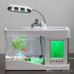 Wholesale 2016 New Arrival Home and Garden Mini USB LCD Desktop Lamp Light Fish Tank With Sounds of Frogs and Birds Aquarium LED Clock