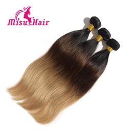 Marrón recta armadura brasileña del pelo en Línea-Ombre las extensiones del pelo recto de tres Brown Rubia 1B 4 27 Ombre de la armadura brasileña del pelo recto humano Paquetes 3PCS / Lot del pelo Misu