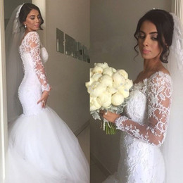 New African Wedding Dresses Beaded Appliques Long Sleeve Lace Wedding Dresses Mermaid Wedding Dress 2016 Robe Mariage
