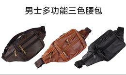 Wholesale Men Wax Genuine Leather sheepskin Vintage Travel Hiking Riding Motorcylce Bum Belt Pouch Fanny Pack Waist Pocket sports waist