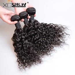 Promotion vague d'eau armure bouclée Cheap péruvienne Virgin Natural Hair Vague Non Transformé en vrac Curly Wet Unice Hair 7A péruvienne Water Wave et Wavy Human Hair Weave