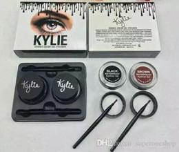 Wholesale Kylie Jenner Eyebrow Cream Gel kylie Waterproof Makeup Eyeshadow Cosmetics Make Up Double Color Gel Eyeliner Black Brown with Brushes