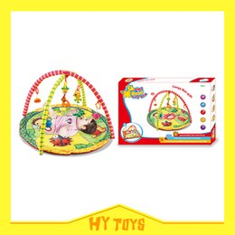 Wholesale Baby gym blanket infant practice carpet multifunctional activity education rugs baby play mat with plastic rattle and soft teether