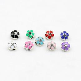 Mixed DIY Sakura stopper beads Enamel Alloy charms beads Fit Bracelet Chain 500pcs lot