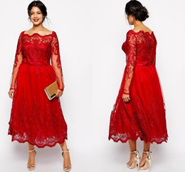 2016 Cheap Red Mother of the Bride Dresses Off Shoulder Long Sleeves Lace Appliques Tea Length Plus Size Party Dress Wedding Guest Gowns