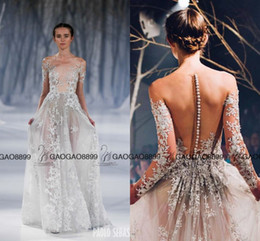 Wholesale Detail at Paolo Sebastian Amazing Lace Floral Long Sleeve Evening Dresses Sheer Neck Sexy Elegant Long Occasion Prom Party Dress