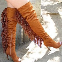 2019 Latest New Street Fashion Peep Toe Back Tassel Boots Women Knee Boots Black Brown Suede Leather Motorcycle Boots Woman Shoes