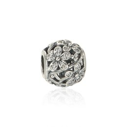 Cubic Flower charms 925 Sterling silver fits Pandora style Bracelets Free shipping LW500