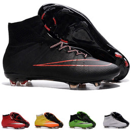 Wholesale Mercurial Superfly FG Double color bottom men s Soccer Boots Mens Football Boots Cleats Original soccer cleats adizero cr7