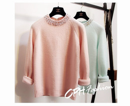 Wholesale Korean fashion Women s warm thickening o neck beading gem rhinestone mint long sleeve cashmere wool knitted sweater pullover