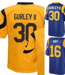 Wholesale Rams GOFF GURLEY yellow blue II Men Game Football Jerseys Accept Mix Order