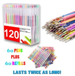 Wholesale 120 Coloring Gel Pens Set Multicolor Drawing Pens Plus Refills More Ink Than Normal Pens Great for Adult Coloring Book