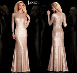 2019 Rose Gold Sequins Mermaid Mother Of The Bride Dresses Long Sleeves Floor Length Elegant Formal Mother Gowns Plus Size Customized