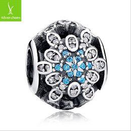 925 Sterling Silver Frozen Blue Diamond Hollow Bead Snowflake Shape Fit Pandora Snake Chain Bracelets Bangles DIY Jewelry Loose Beads