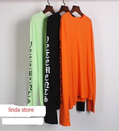 Wholesale vetements long Tshirt spring new sweater kanye west hoodies Gothic letters long sleeved sweater men fashion long tee yellow green black