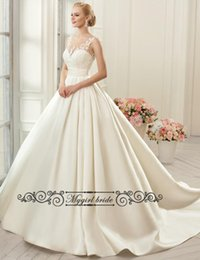 Wholesale Cap Sleeve Sheer neck Sexy Wedding Dresses Backless Bridal Gown A line Satin WEdding Gown With pockets