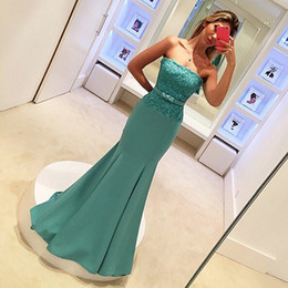 Modest Prom Dresses Mermaid Sexy Strapless Sleeveless Lace Top Fitted Evening Party Gowsn with Sash Bow Top Quality Custom Made