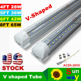 Wholesale T8 FT W V Shaped Led Tube Light Double Glow m Integration For Cooler Door Led Lights AC110 V Warm Cool White Transparent Cover