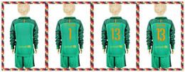 Wholesale Youth Kids soccer Jersey Barcelona TER STEGEN Cillesse Goalkeeper Long Sleeve Uniforms Kit Light Green Jerseys