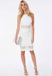 2015073105 Sexy Club Dresses 2015 Women Celebrity White Bodycon Dress Hollow Out Knee-length Midi Pencil Dress Party Bandage Dress