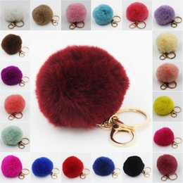 Real Fur Fluffy Rex Rabbit Hair Pompom Ball Key Chain Clip Fuzzy 24colors option #R410