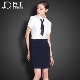 Vente en gros-Fashion Summer Lady Dress Set chemise blanche Airline Tie Hôtesse Jupe à partir de chemises habillées ensemble cravate fabricateur