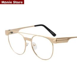 Or gros cadres lunettes en Ligne-Vente en gros-NOUVEAU flèche lunettes cadres hommes plein cadre métal or argent noir plat top hommes lunettes marque concepteur optiques femmes rétro UV