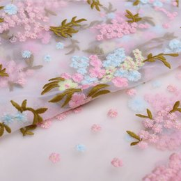 Wholesale Hot sell lace fabric Both sides color floral positioning embroidery woth gauze material advanced dress custom fabrics of silk chiffon dress