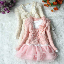 Wholesale 2016 Baby Girl Clothing Sets Flower Lace Dress Coat Pieces Suits Long Sleeve Coats Ruffle Tutu Dress Cute Girls Outfits Pink Beige for Y