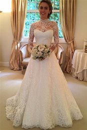 Elegant Vintage Plus Size Wedding Dresses 2016 High Neck Long Sleeves Lace Draped Backless Bridal Gowns
