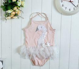 Wholesale HOT Swan Mesh baby girl swimsuit lace girls swimwear princess pink beach girls bathing suit kids swim suit girl swimming wear