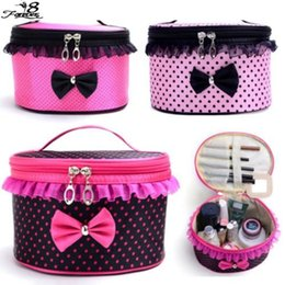 Wholesale Korean Amazing Women Lady Square Bow Dots Cosmetic Bag Lace Flower Travel Makeup Toiletries Bags News